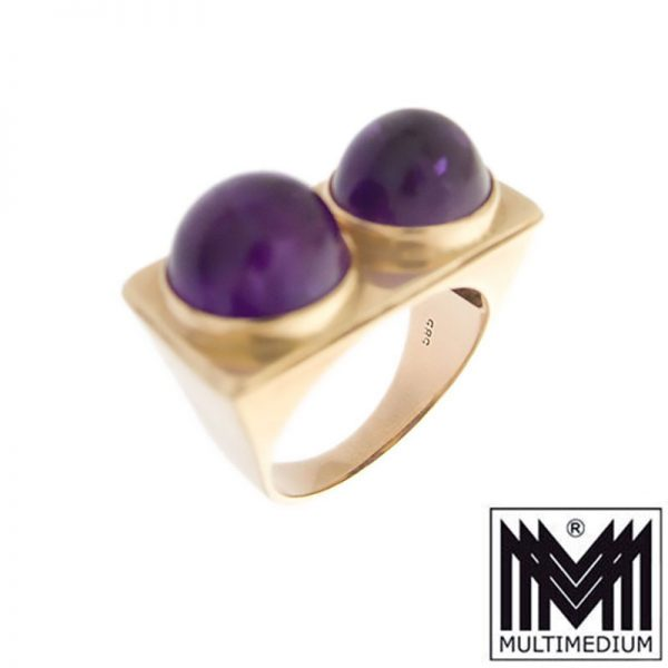 Art Deco 585 Gelbgold Fingerring Amethyst Cabochon 14ct gold ring