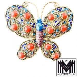Jugendstil Schmetterling Silber Brosche Emaille Koralle silver china