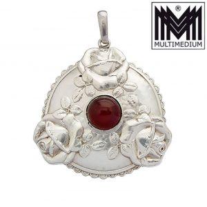 Jugendstil Silber Anhänger A. Odenwald Pforzheim amber silver pendant
