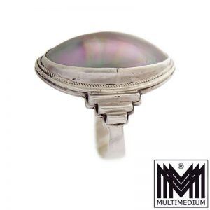 Christoph Kay Hamburg Art Deco 800 Silber Ring Muschel Perlmutt