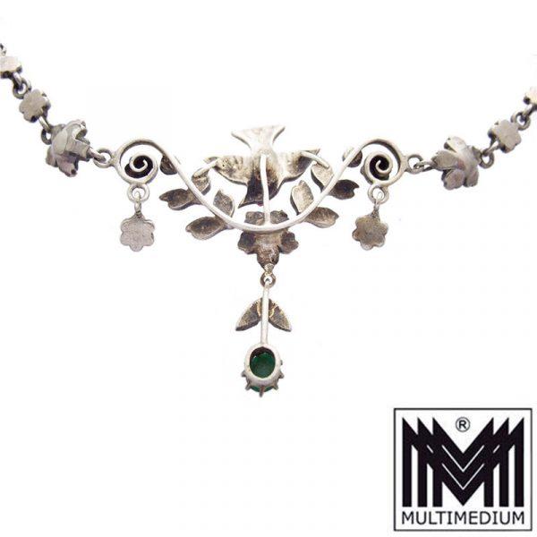 Antikes Jugendstil Silber Türkis Collier Halskette um 1890 Victorian turquoise silver necklace