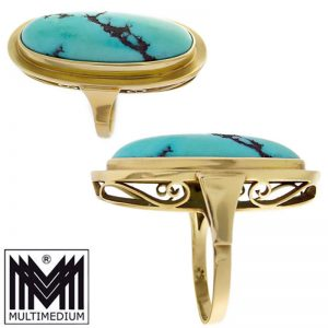 Großer prachtvoller 585 Gold Ring Türkis turquoise 14kt Gelbgold gorgeous