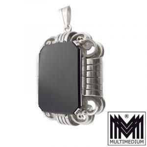 Großer Art Deco Silber Anhänger 835 Onyx silver pendant