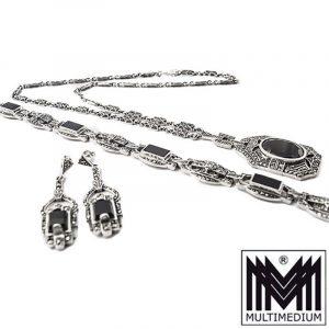 Art Deco Silber Collier Armband Ohrringe Set Onyx Markasite silver