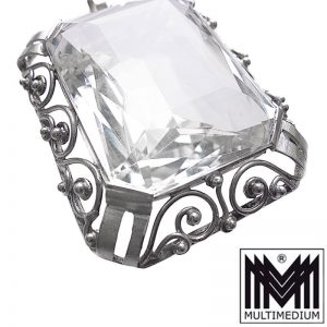 Großer Art Deco Silber Anhänger Bergkristall silver pendant mountain crystal