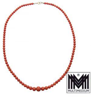 Italienische lachsfarbene Korallen Halskette Art Deco coral necklace