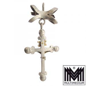 Barock Silber Kreuz Granat Trachten Mieder Anhänger baroque silver cross pendant