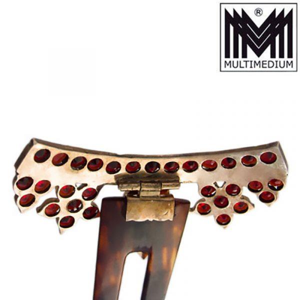 Jugendstil Steckkamm Granat Tombak Horn um 1900 antik comb antique