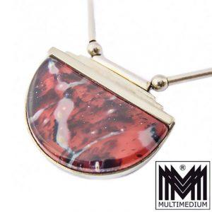 - VERKAUFT - Art Deco Halskette WMF Ikora Glas Schmuck rot marmoriert Anhänger Collier myra
