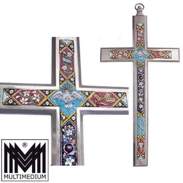 Großes Millefiori Mikromosaik Kreuz Metall large micro mosaic cross