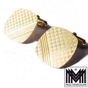 585er Gold Manschettenknöpfe graphisches Muster 14ct gold cuff links
