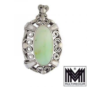 Jugendstil Silber Jade Anhänger Art Nouveau silver pendant