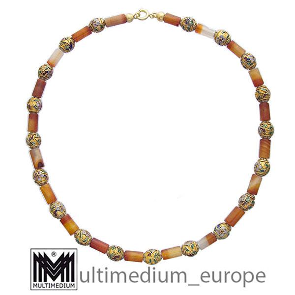 Karneol Emaille Collier Kunst Handwerk Halskette Steinkette necklace