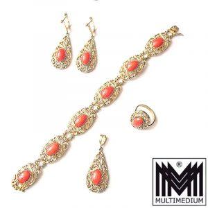 Sardegna Koralle Set Ring Ohrringe Armband coral silver earring bracelet pendant