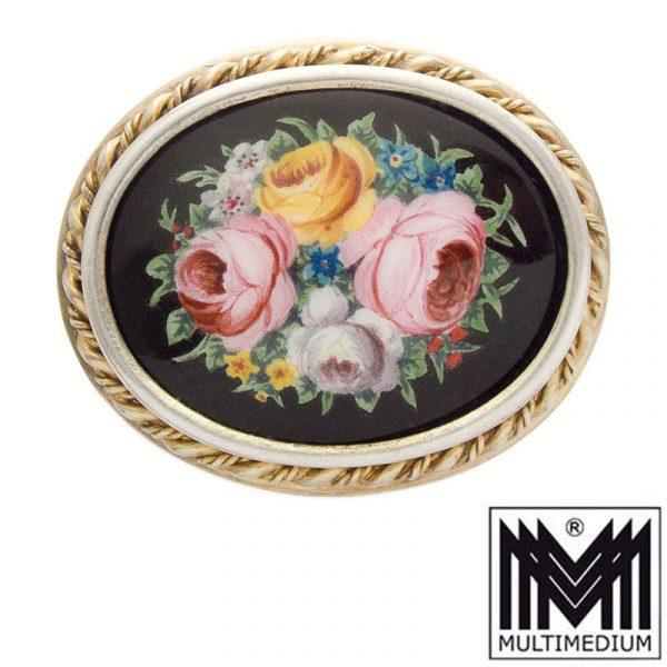 Jugendstil Emaille Brosche Limoges E. Soupal Blumen enamel brooch flower