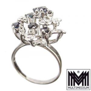 585er Weißgold Ring Safir Saphir blau white gold ring blue sapphire