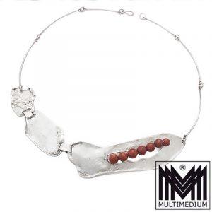Modernist Sterling Silber Collier Halskette Jaspis silver necklace 60er signiert