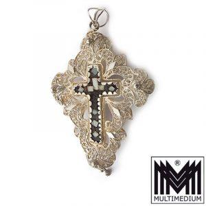 Silber Kreuz Rosenkranz Anhänger Perlmutt filigran silver cross pendant rosary