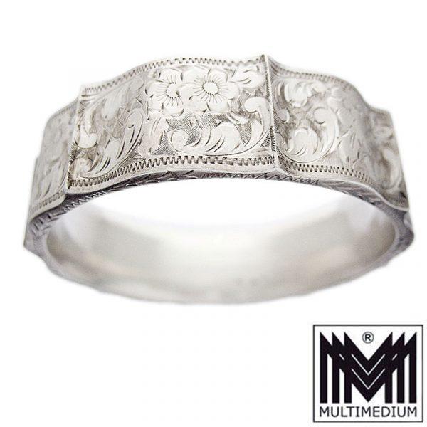 Prachtvoller antiker Art Deco Silber Armreif Handarbeit ziseliert