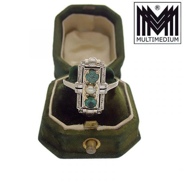 - VERKAUFT - 585 Weißgold Art Deco Ring Turmalin Grün Perle 14ct white gold pearl