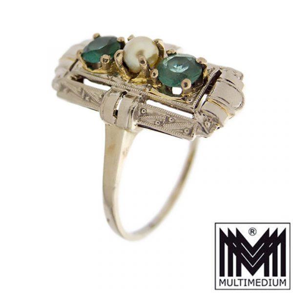 585 Weißgold Art Deco Ring Turmalin Grün Perle 14ct white gold pearl