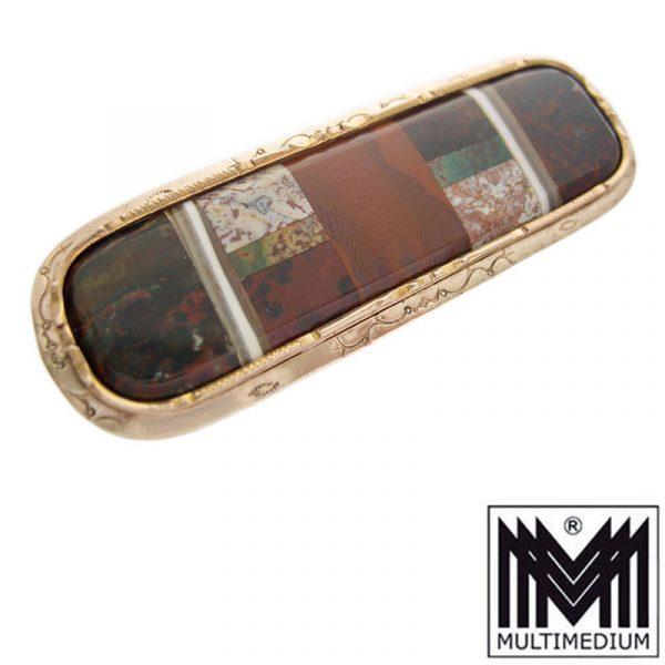 Victorian Scottish pebble Brosche Metall vergoldet brooch metal gilt