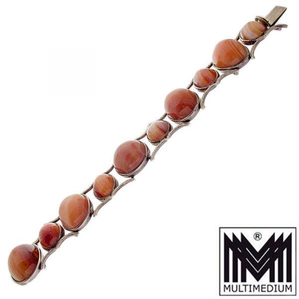Prachtvolles Silber Streifen Achat Armband Orange vintage silver agate bracelet