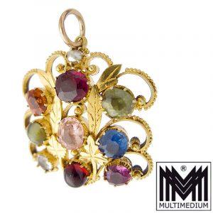 Antiker 585 Gold Jugendstil Gemüse Anhänger Granat Amethyst pendant
