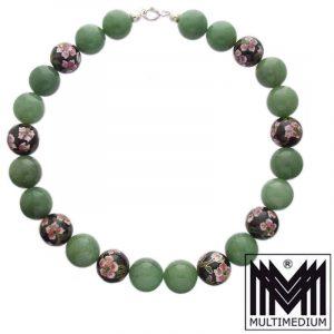 Große Aventurin Cloisonne Emaille Collier Kugel Grün Halskette
