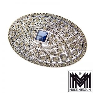 Auguste Besson Jugendstil Silber Strass Brosche silver paste brooch
