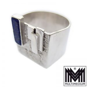 Art Deco Lapislazuli Silber Ring Bauhaus Design UTA geometr. silver