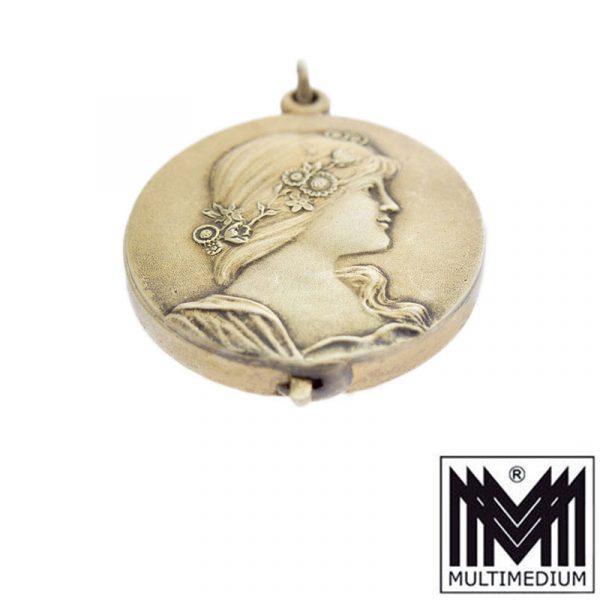 Jugendstil Silber Spiegel Anhänger A. Odenwald Pforzheim amber silver mirror pendant