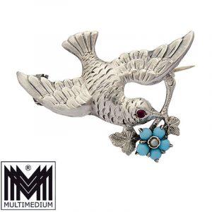 Biedermeier Silber Türkis Brosche Antik Taube silver brooch turquoise