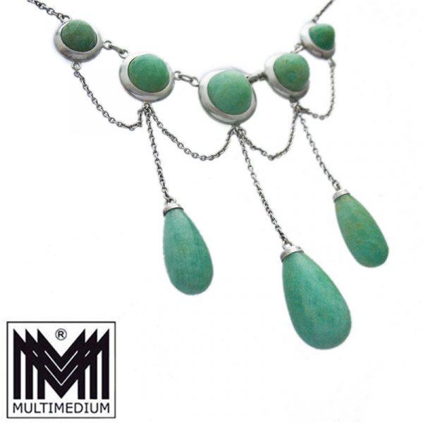 Jugendstil Silber Amazonit Collier Halskette Art Nouveau silver necklace amazonite
