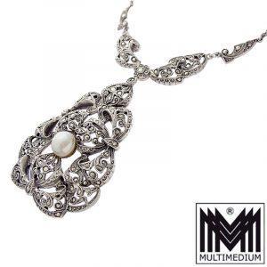 Art Deco Silber Collier Perle Markasite Halskette um 1926 Blumen