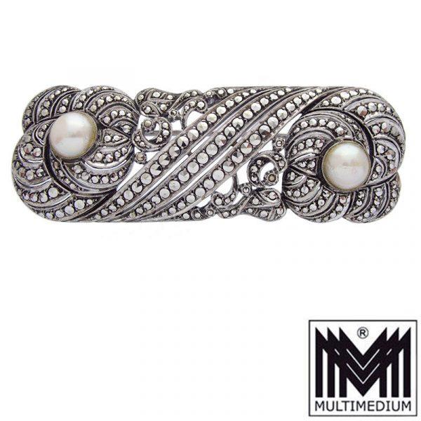 Prachtvolle Art Deco Silber Brosche Markasiten Perlen