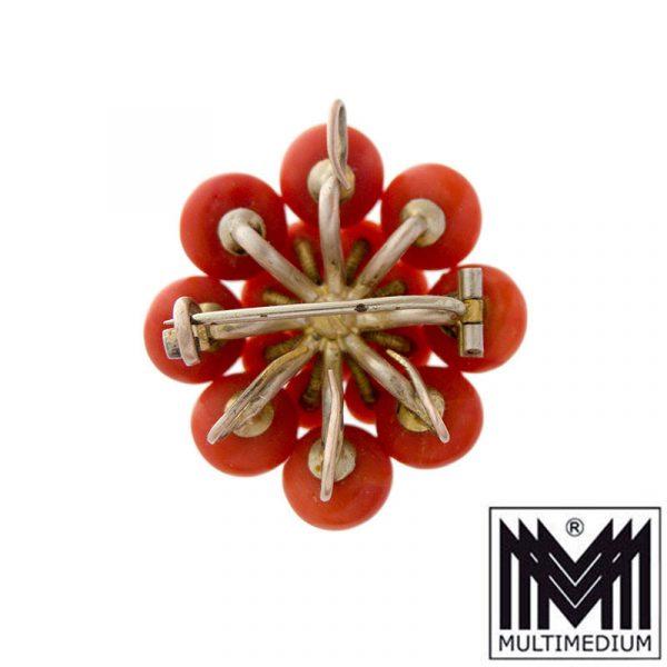 Antike Biedermeier Brosche Silber vergoldet Koralle antique coral brooch silver gilt