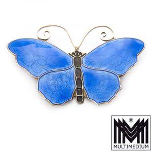 Silber Brosche David Andersen Schmetterling Emaille blau enamel silver brooch