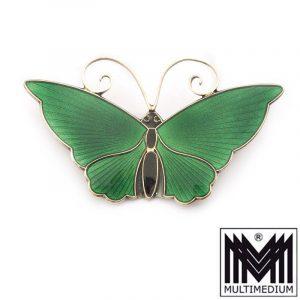 Silber Brosche David Andersen Schmetterling Emaille grün enamel
