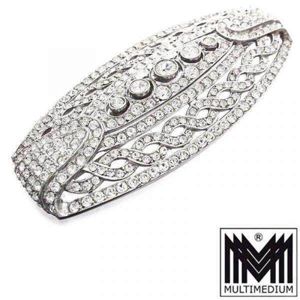 Große Silber Strass Brosche im Art Deco silver paste brooch