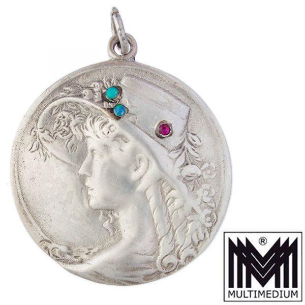 Jugendstil Silber Anhänger Dame Opal Granat silver pendant lady