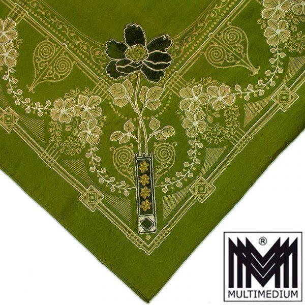 Antike Jugendstil Baumwolle Tischdecke Wandbehang Vorhang 1900 Grün