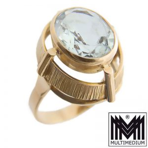 585er Gold Ring Aquamarin 50er 60er Jahre 14k 14ct 14Karat aquamarine 50s 60s