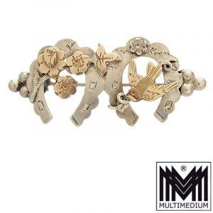 Hufeisen Glücks Brosche Silber Rotgold Schwalbe silver brooch England
