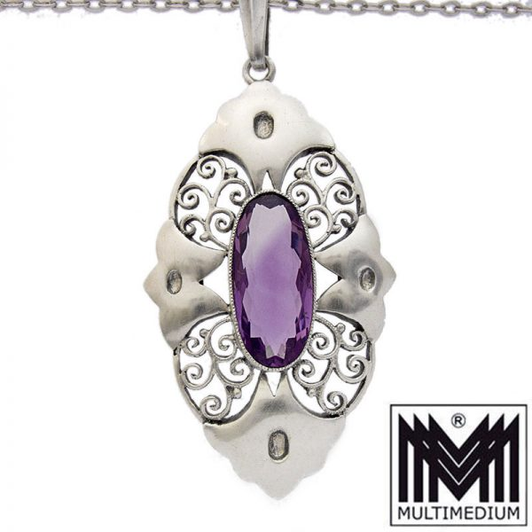 Karl Karst Pforzheim Art Deco Silber Anhänger Amethyst silver pendant