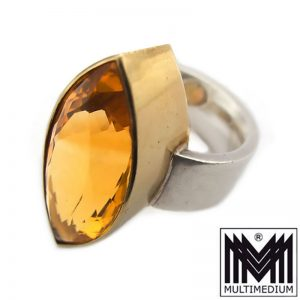 Modernist Silber Ring Citrin Fassung Gold Auflage Handarbeit gold topaz