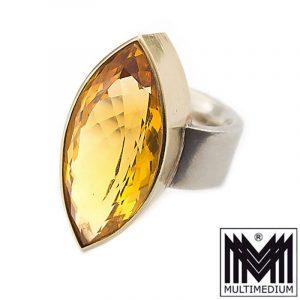-VERKAUFT- Modernist Silber Ring Citrin Fassung Gold Auflage Handarbeit gold topaz