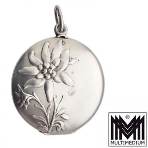 Victor Mayer Jugendstil Silber Medaillon Anhänger Edelweiß silver locket pendant