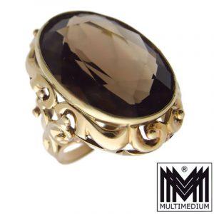 Art Deco 585 er Gold Ring Rauchquarz 30s 30er Jahre smoky quartz 14ct 14k