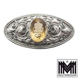 Jugendstil Silber Brosche Martin Mayer Pforzheim antik Citrin gelb silver brooch